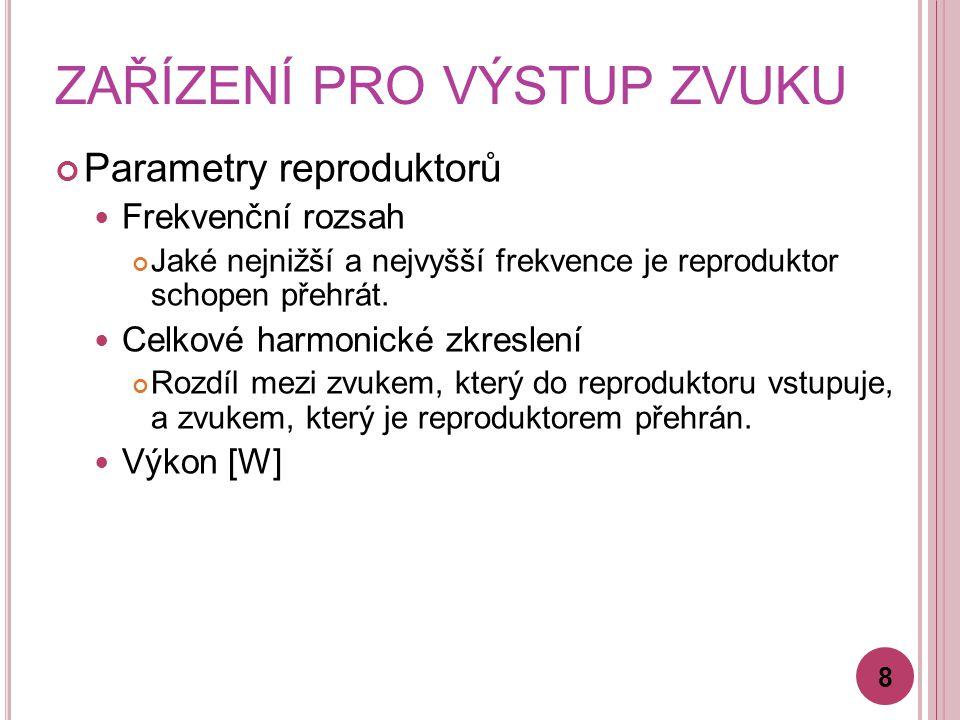ZAŘÍZENÍ PRO VÝSTUP ZVUKU Parametry reproduktorů Frekvenční rozsah Jaké nejnižší a nejvyšší frekvence je reproduktor schopen přehrát.