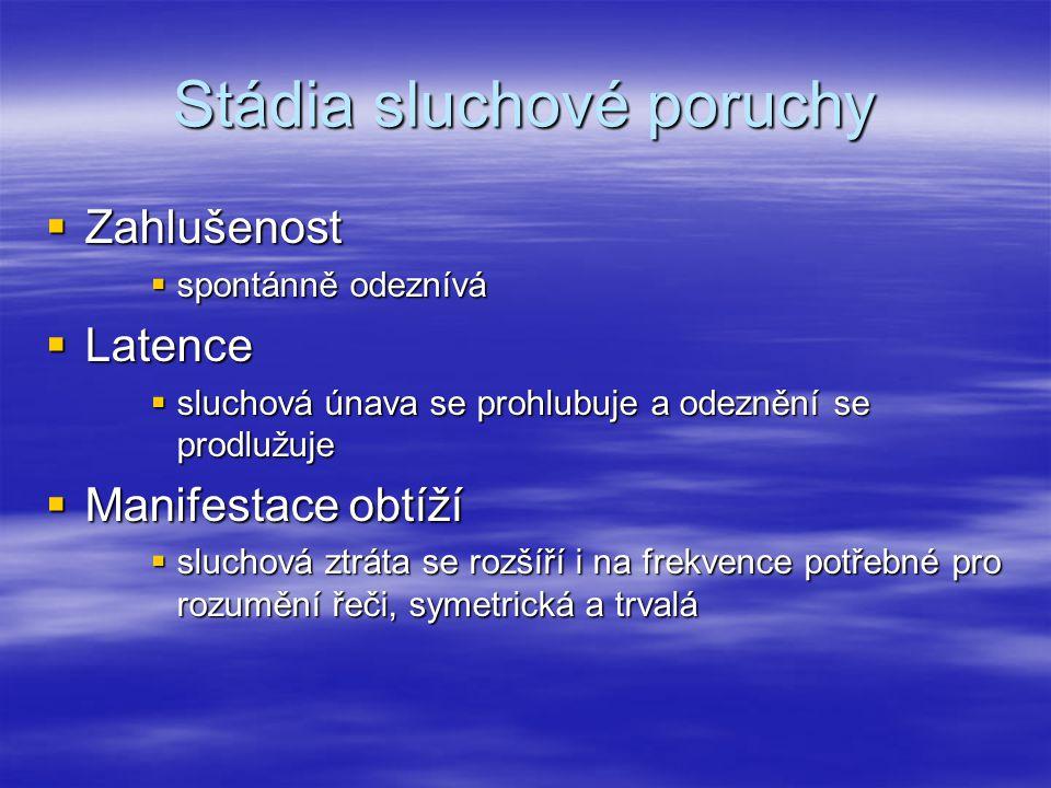 Stádia sluchové poruchy  Zahlušenost  spontánně odeznívá  Latence  sluchová únava se prohlubuje a odeznění se prodlužuje  Manifestace obtíží  sl