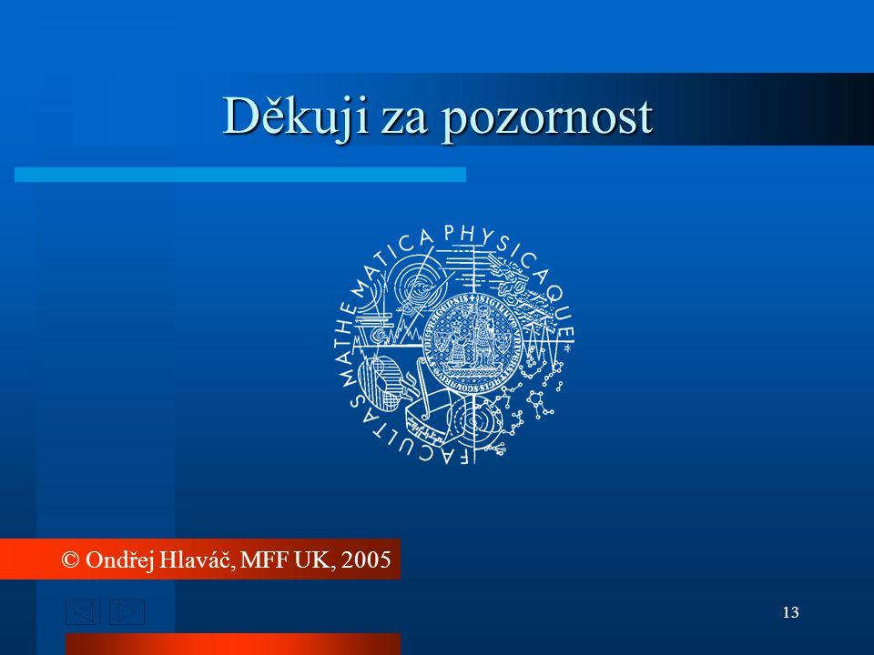 13 © Ondřej Hlaváč, MFF UK, 2005 Děkuji za pozornost