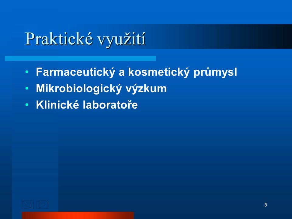 5 Praktické využití Farmaceutický a kosmetický průmysl Mikrobiologický výzkum Klinické laboratoře
