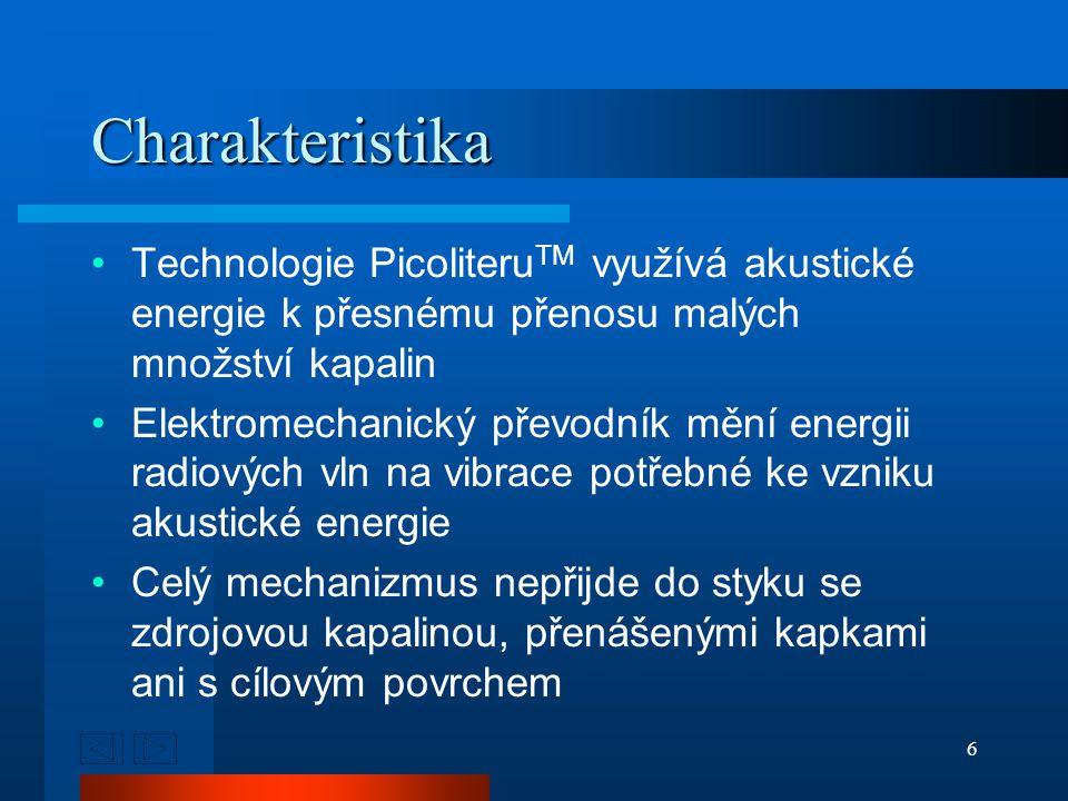6 Charakteristika Technologie Picoliteru TM využívá akustické energie k přesnému přenosu malých množství kapalin Elektromechanický převodník mění energii radiových vln na vibrace potřebné ke vzniku akustické energie Celý mechanizmus nepřijde do styku se zdrojovou kapalinou, přenášenými kapkami ani s cílovým povrchem