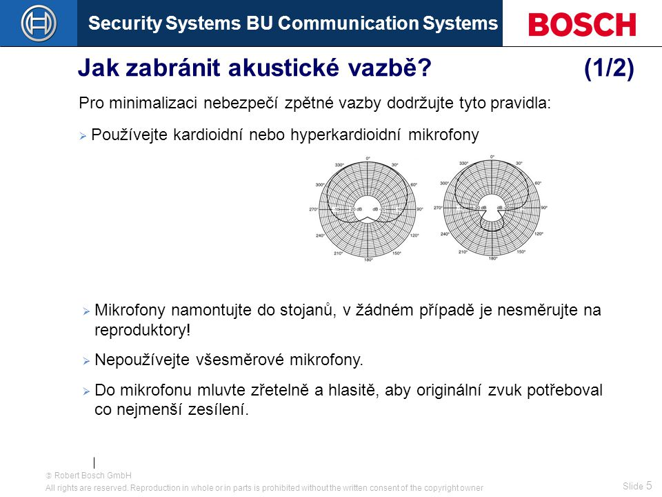 Security Systems BU Communication Systems Slide 15  Robert Bosch GmbH All rights are reserved.