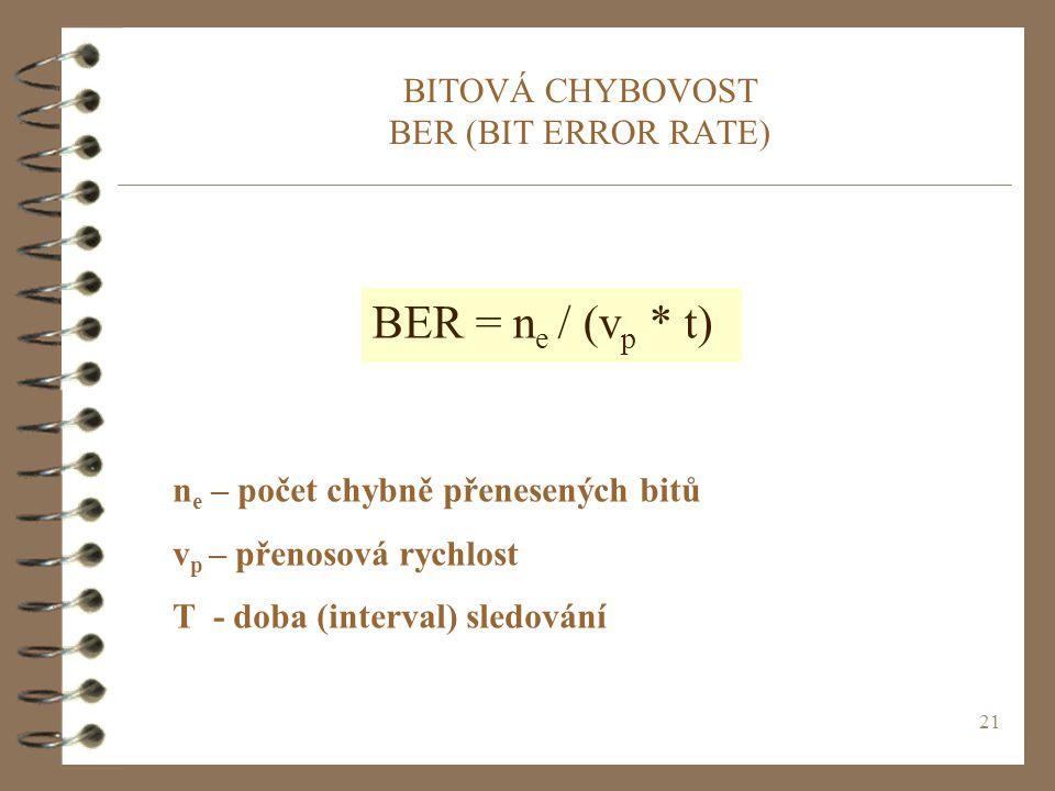 21 BITOVÁ CHYBOVOST BER (BIT ERROR RATE) BER = n e / (v p * t) n e – počet chybně přenesených bitů v p – přenosová rychlost T - doba (interval) sledov
