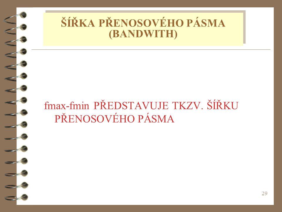 29 fmax-fmin PŘEDSTAVUJE TKZV. ŠÍŘKU PŘENOSOVÉHO PÁSMA ŠÍŘKA PŘENOSOVÉHO PÁSMA (BANDWITH)