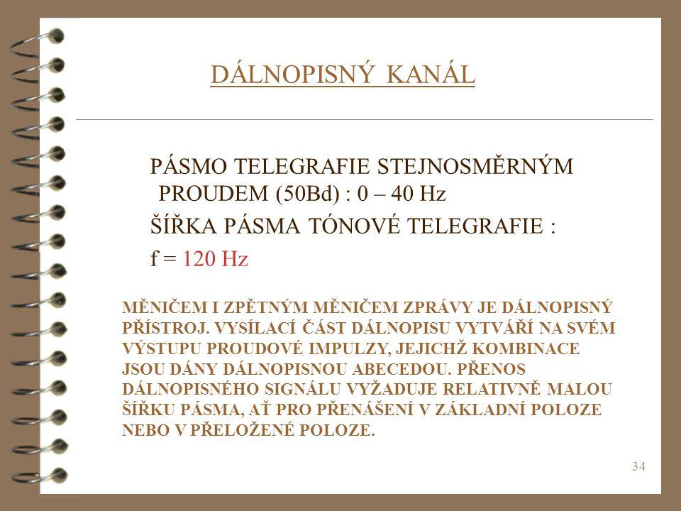 34 DÁLNOPISNÝ KANÁL PÁSMO TELEGRAFIE STEJNOSMĚRNÝM PROUDEM (50Bd) : 0 – 40 Hz ŠÍŘKA PÁSMA TÓNOVÉ TELEGRAFIE : f = 120 Hz MĚNIČEM I ZPĚTNÝM MĚNIČEM ZPR