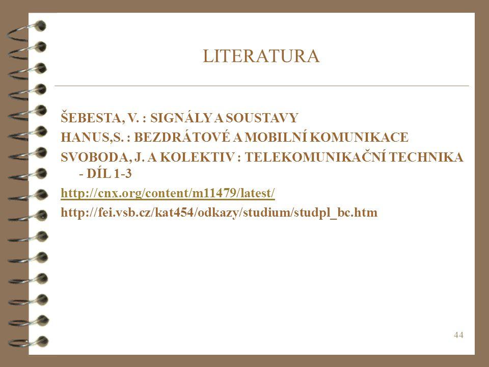 44 LITERATURA ŠEBESTA, V. : SIGNÁLY A SOUSTAVY HANUS,S. : BEZDRÁTOVÉ A MOBILNÍ KOMUNIKACE SVOBODA, J. A KOLEKTIV : TELEKOMUNIKAČNÍ TECHNIKA - DÍL 1-3