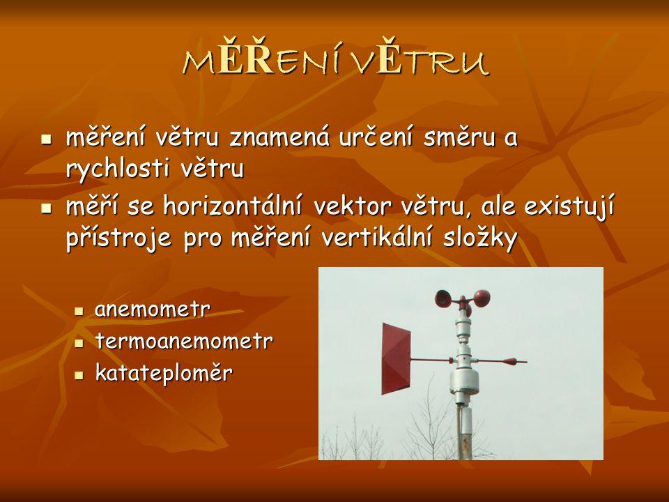 M ĚŘ ENÍ V Ě TRU měření větru znamená určení směru a rychlosti větru měření větru znamená určení směru a rychlosti větru měří se horizontální vektor větru, ale existují přístroje pro měření vertikální složky měří se horizontální vektor větru, ale existují přístroje pro měření vertikální složky anemometr anemometr termoanemometr termoanemometr katateploměr katateploměr
