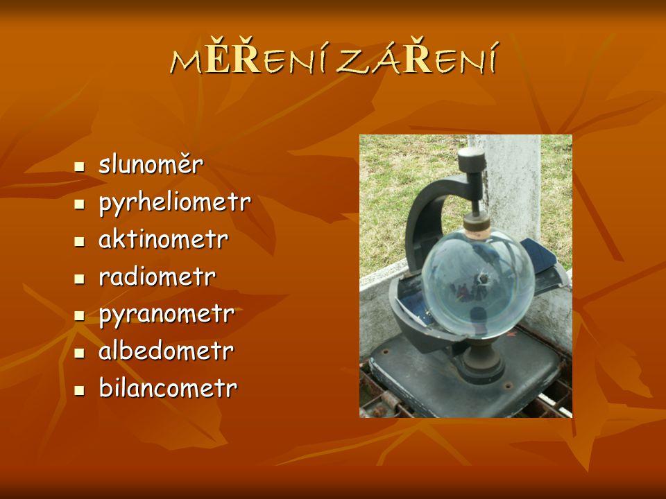 M ĚŘ ENÍ ZÁ Ř ENÍ slunoměr slunoměr pyrheliometr pyrheliometr aktinometr aktinometr radiometr radiometr pyranometr pyranometr albedometr albedometr bilancometr bilancometr