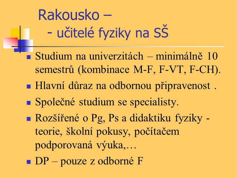 Rakousko – - učitelé fyziky na SŠ Studium na univerzitách – minimálně 10 semestrů (kombinace M-F, F-VT, F-CH). Hlavní důraz na odbornou připravenost.