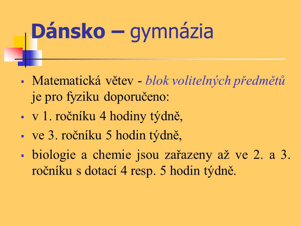 Dánsko – gymnázia  Matematická větev - blok volitelných předmětů je pro fyziku doporučeno:  v 1. ročníku 4 hodiny týdně,  ve 3. ročníku 5 hodin týd
