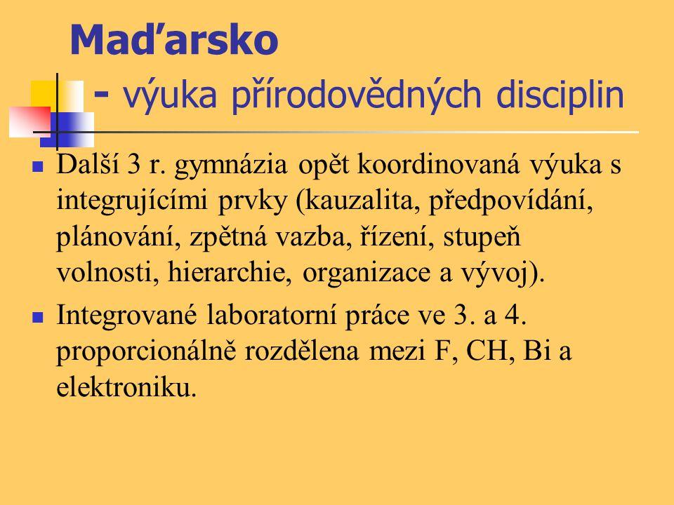 Maďarsko - výuka přírodovědných disciplin Další 3 r. gymnázia opět koordinovaná výuka s integrujícími prvky (kauzalita, předpovídání, plánování, zpětn