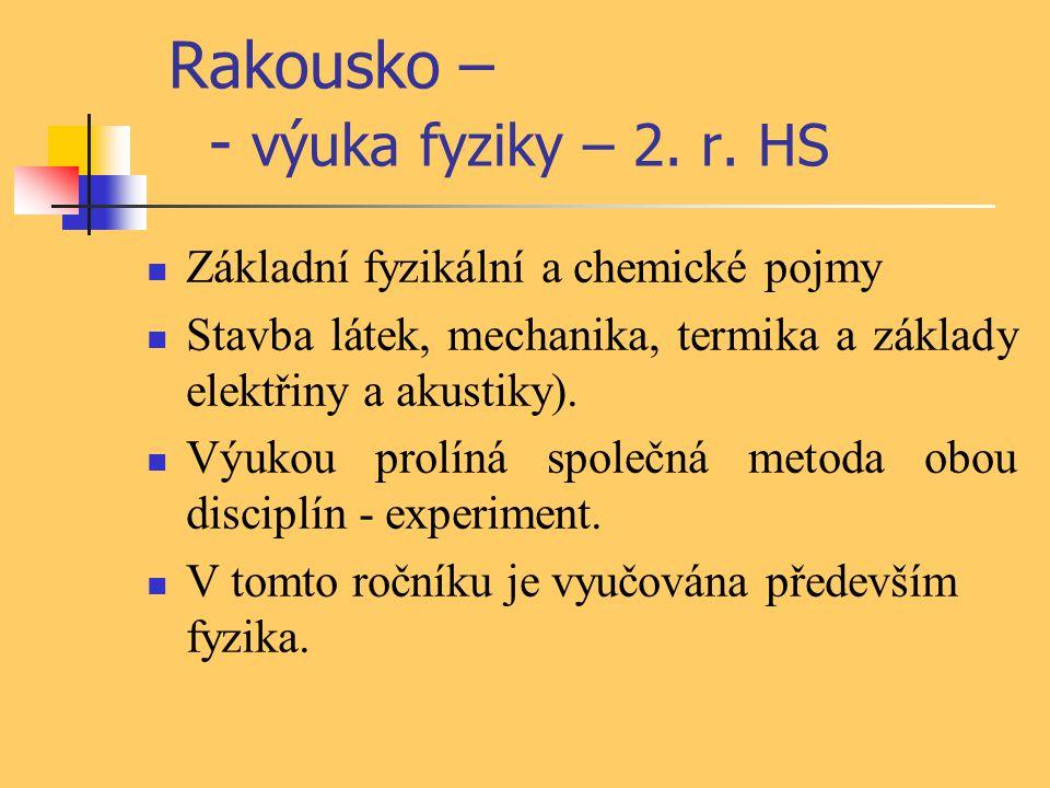 Rakousko – - výuka fyziky – 2. r. HS Základní fyzikální a chemické pojmy Stavba látek, mechanika, termika a základy elektřiny a akustiky). Výukou prol