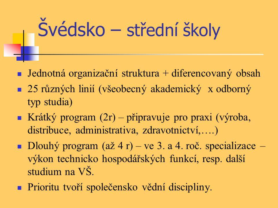 Švédsko – střední školy Jednotná organizační struktura + diferencovaný obsah 25 různých linií (všeobecný akademický x odborný typ studia) Krátký progr