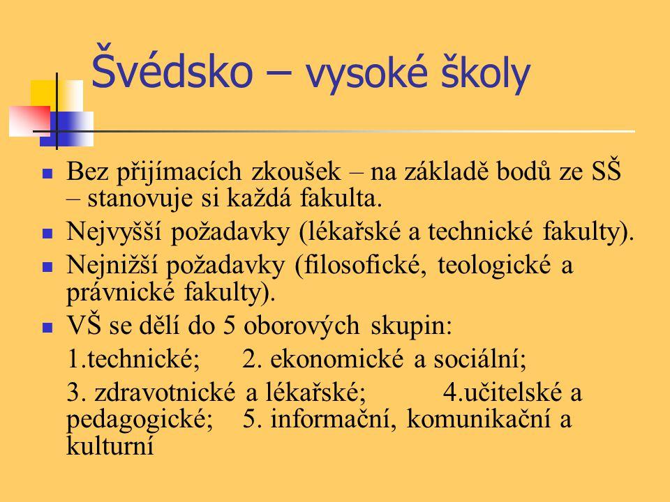Švédsko – vysoké školy Bez přijímacích zkoušek – na základě bodů ze SŠ – stanovuje si každá fakulta. Nejvyšší požadavky (lékařské a technické fakulty)