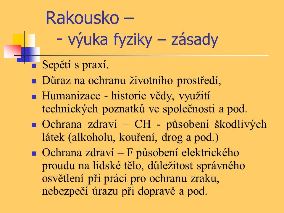 Maďarsko - výuka přírodovědných disciplin Další 3 r.