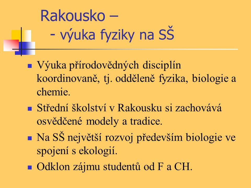 Rakousko – - výuka fyziky na SŠ Výuka přírodovědných disciplín koordinovaně, tj. odděleně fyzika, biologie a chemie. Střední školství v Rakousku si za