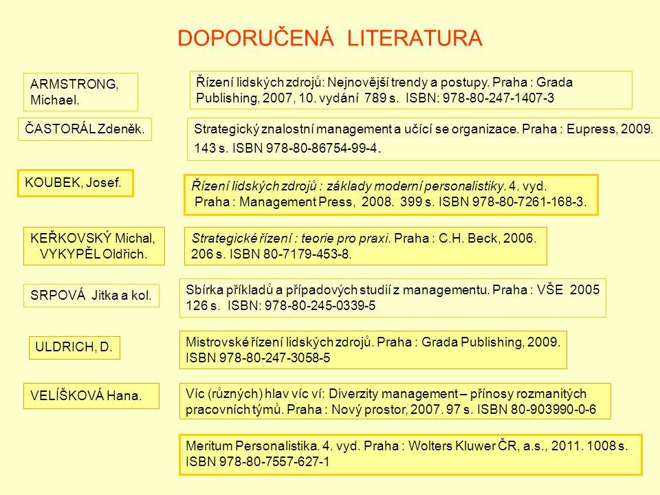 6 DOPORUČENÁ LITERATURA ČASTORÁL Zdeněk.Strategický znalostní management a učící se organizace. Praha : Eupress, 2009. 143 s. ISBN 978-80-86754-99-4.