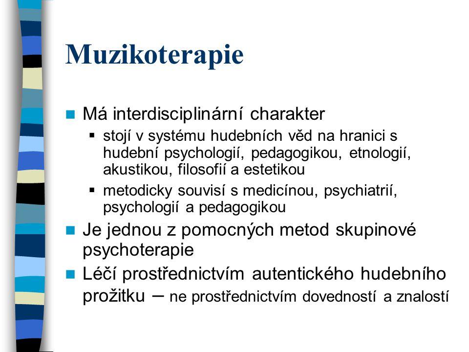 Muzikoterapie Má interdisciplinární charakter  stojí v systému hudebních věd na hranici s hudební psychologií, pedagogikou, etnologií, akustikou, fil