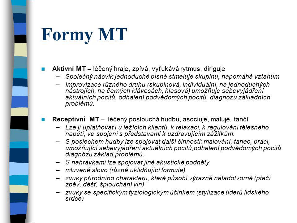 Formy MT Individuální MT používá se především v počátcích léčby, kdy je třeba intenzivnějšího a specificky zaměřeného působení na klienta.