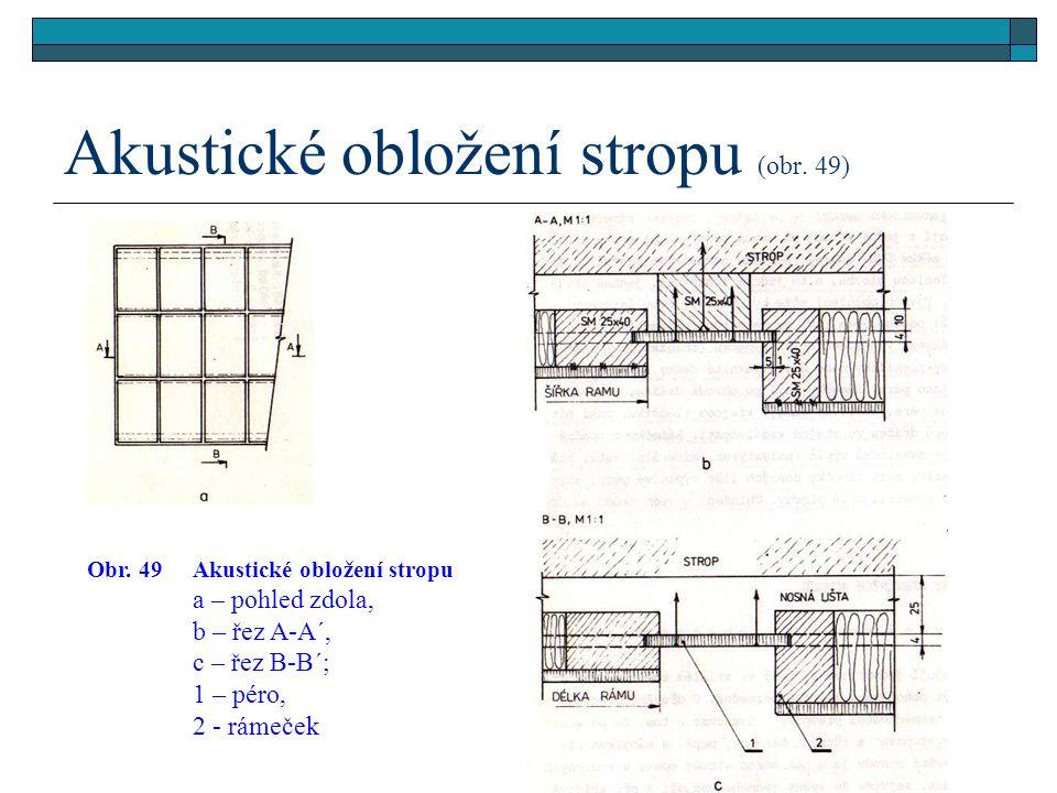 4.2.2.4Akustické obložení stropu (obr. 49) Stěny a stropy v přednáškových sálech, posluchárnách, staničních budovách apod. se obkládají zvukově izolač