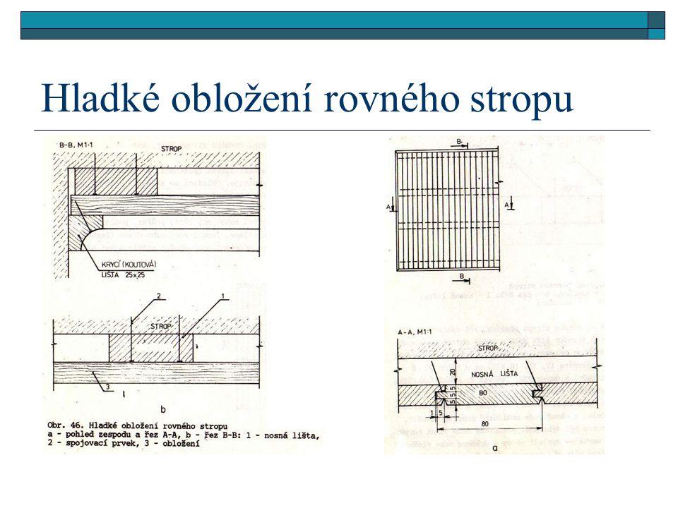 Hladké obložení rovného stropu  K lištám se připevní obložení. Obložení lze vyrábět z masivního dřeva o tloušťce 12, 15, 18 a 21 mm a šířce 40 až 100