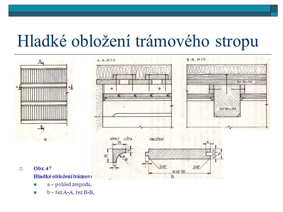 4.2.2.2Hladké obložení trámového stropu (obr.47)  Někdy není strop hladký, ale do prostoru vyčnívají nosné trámy. Jestliže jsou vzhledově pěkné, povr