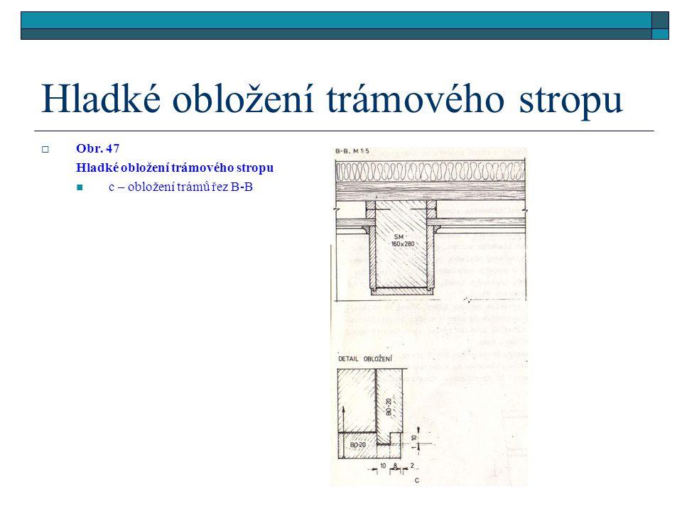 Hladké obložení trámového stropu  Obr. 47 Hladké obložení trámového stropu a – pohled zespodu, b – řez A-A, řez B-B,