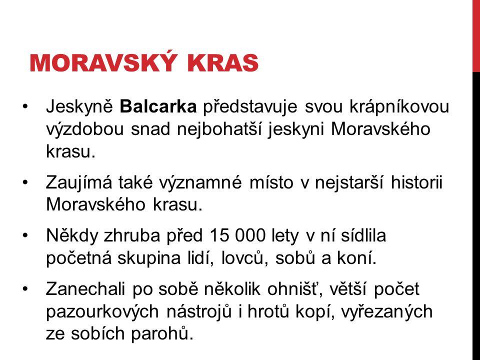 MORAVSKÝ KRAS Jeskyně Balcarka představuje svou krápníkovou výzdobou snad nejbohatší jeskyni Moravského krasu. Zaujímá také významné místo v nejstarší
