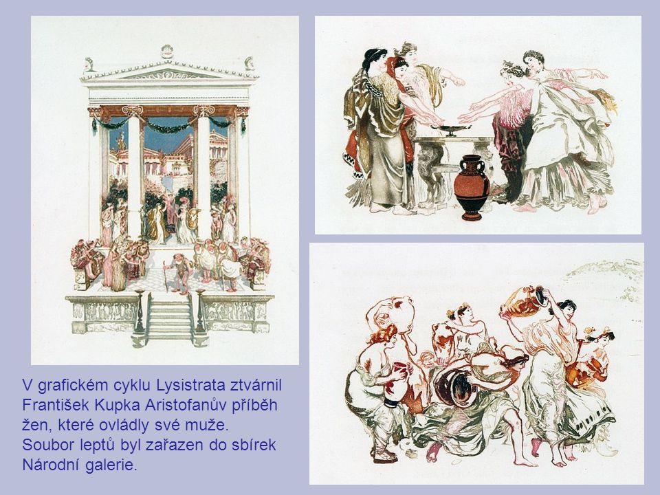 V grafickém cyklu Lysistrata ztvárnil František Kupka Aristofanův příběh žen, které ovládly své muže.