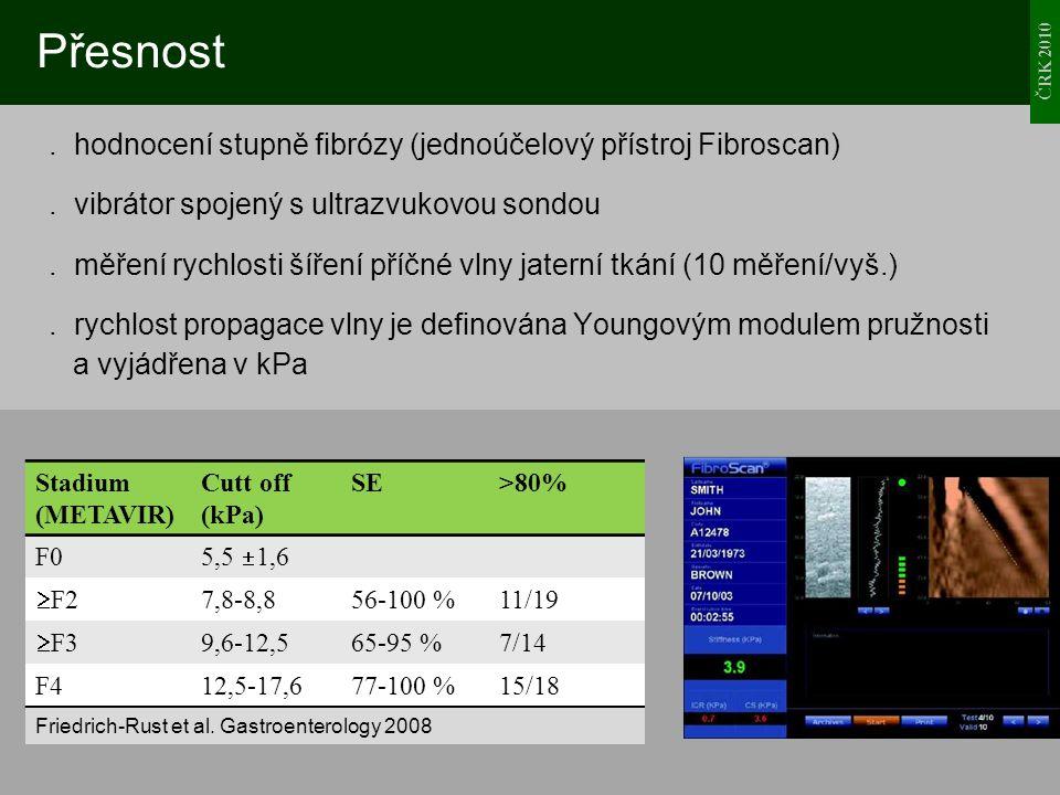 ČRK 2010 Přesnost. hodnocení stupně fibrózy (jednoúčelový přístroj Fibroscan). vibrátor spojený s ultrazvukovou sondou. měření rychlosti šíření příčné