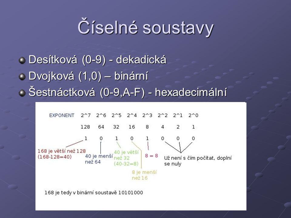 Číselné soustavy Desítková (0-9) - dekadická Dvojková (1,0) – binární Šestnáctková (0-9,A-F) - hexadecimální