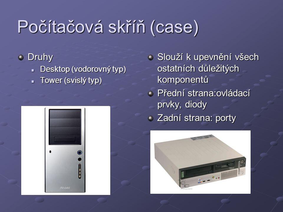 Základní deska Propojuje veškeré komponenty počítače a připojit je k napájení Obsahuje velké množství slotů a konektorů Obsahuje paměť ROM (pouze ke čtení)- uložení BIOSU