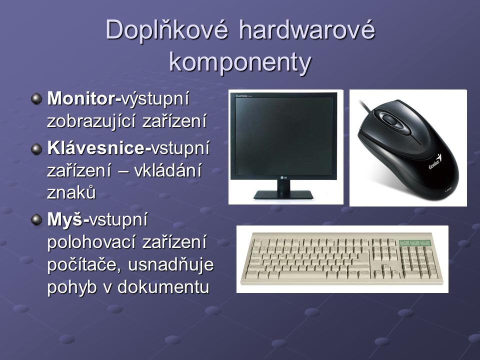 Doplňkové hardwarové komponenty Monitor-výstupní zobrazující zařízení Klávesnice-vstupní zařízení – vkládání znaků Myš-vstupní polohovací zařízení poč