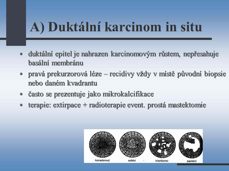 A) Duktální karcinom in situ  duktální epitel je nahrazen karcinomovým růstem, nepřesahuje basální membránu  pravá prekurzorová léze – recidivy vždy v místě původní biopsie nebo daném kvadrantu  často se prezentuje jako mikrokalcifikace  terapie: extirpace + radioterapie event.