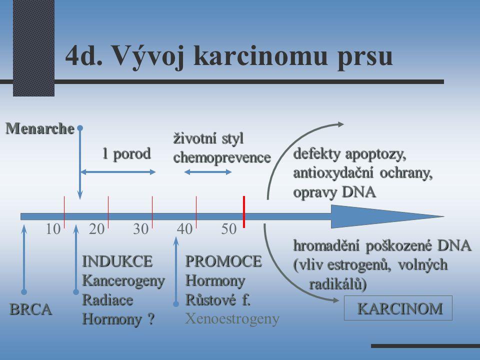 4d. Vývoj karcinomu prsu 10 20 30 40 50 KARCINOM BRCA 1 porod životní styl chemoprevence INDUKCEKancerogenyRadiace Hormony ? Menarche PROMOCEHormony R