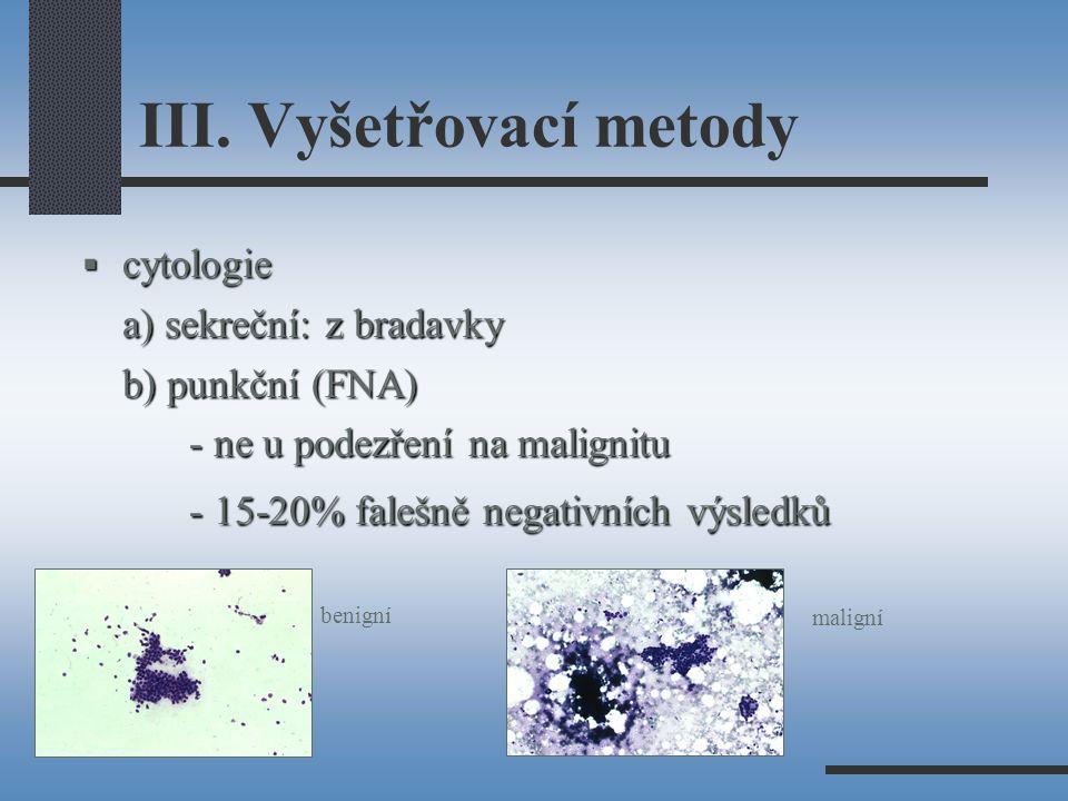 III. Vyšetřovací metody  cytologie a) sekreční: z bradavky b) punkční (FNA) - ne u podezření na malignitu - 15-20% falešně negativních výsledků benig