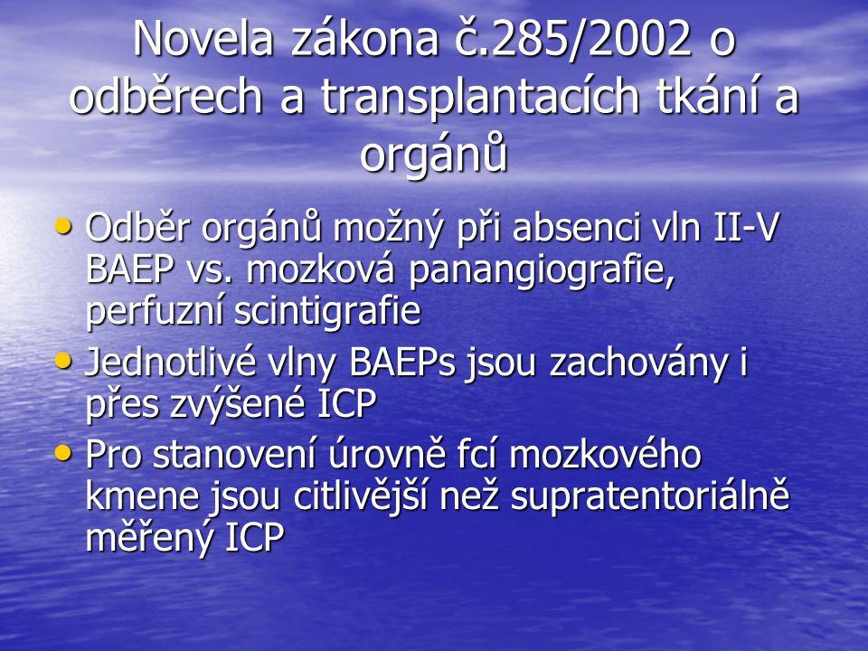 Novela zákona č.285/2002 o odběrech a transplantacích tkání a orgánů Odběr orgánů možný při absenci vln II-V BAEP vs. mozková panangiografie, perfuzní