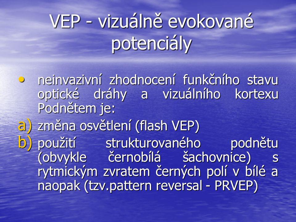 VEP - vizuálně evokované potenciály neinvazivní zhodnocení funkčního stavu optické dráhy a vizuálního kortexu Podnětem je: neinvazivní zhodnocení funk