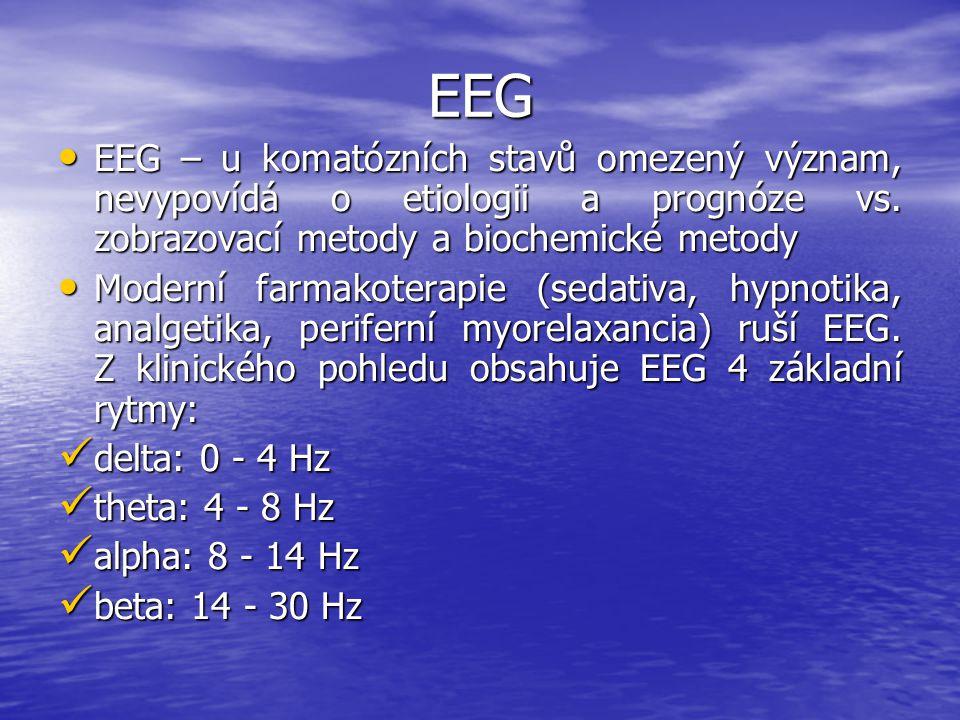 EEG EEG – u komatózních stavů omezený význam, nevypovídá o etiologii a prognóze vs. zobrazovací metody a biochemické metody EEG – u komatózních stavů