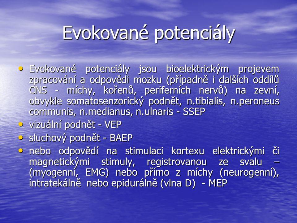 Evokované potenciály Evokované potenciály jsou bioelektrickým projevem zpracování a odpovědi mozku (případně i dalších oddílů CNS - míchy, kořenů, per