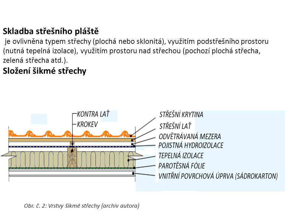 Skladba střešního pláště je ovlivněna typem střechy (plochá nebo sklonitá), využitím podstřešního prostoru (nutná tepelná izolace), využitím prostoru