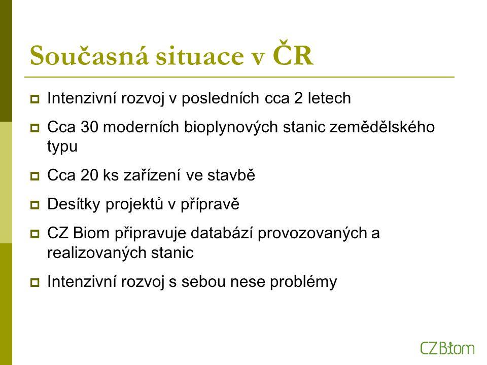 Současná situace v ČR  Intenzivní rozvoj v posledních cca 2 letech  Cca 30 moderních bioplynových stanic zemědělského typu  Cca 20 ks zařízení ve s