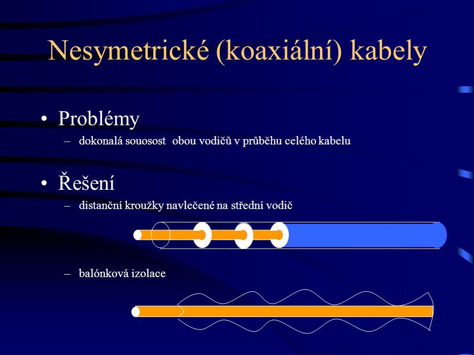 Nesymetrické (koaxiální) kabely Problémy –dokonalá souosost obou vodičů v průběhu celého kabelu Řešení –distanční kroužky navlečené na střední vodič –