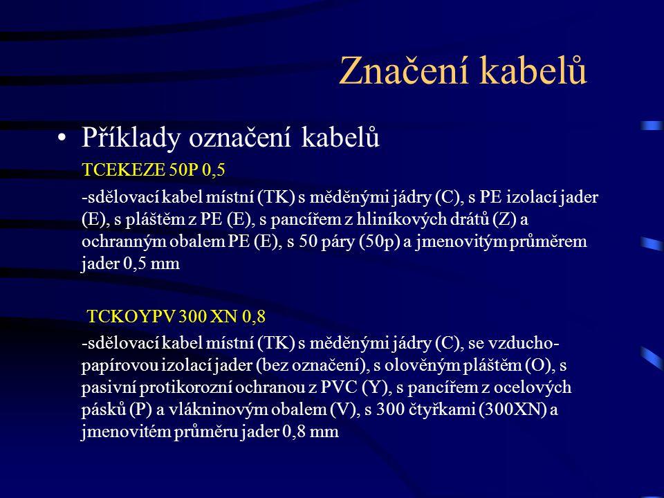 Příklady označení kabelů TCEKEZE 50P 0,5 -sdělovací kabel místní (TK) s měděnými jádry (C), s PE izolací jader (E), s pláštěm z PE (E), s pancířem z h