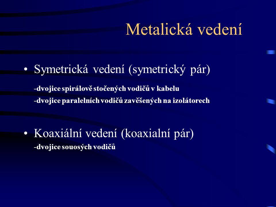 Metalická vedení Symetrická vedení (symetrický pár) -dvojice spirálově stočených vodičů v kabelu -dvojice paralelních vodičů zavěšených na izolátorech