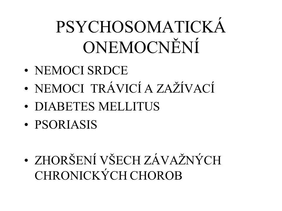 PSYCHOSOMATICKÁ ONEMOCNĚNÍ NEMOCI SRDCE NEMOCI TRÁVICÍ A ZAŽÍVACÍ DIABETES MELLITUS PSORIASIS ZHORŠENÍ VŠECH ZÁVAŽNÝCH CHRONICKÝCH CHOROB