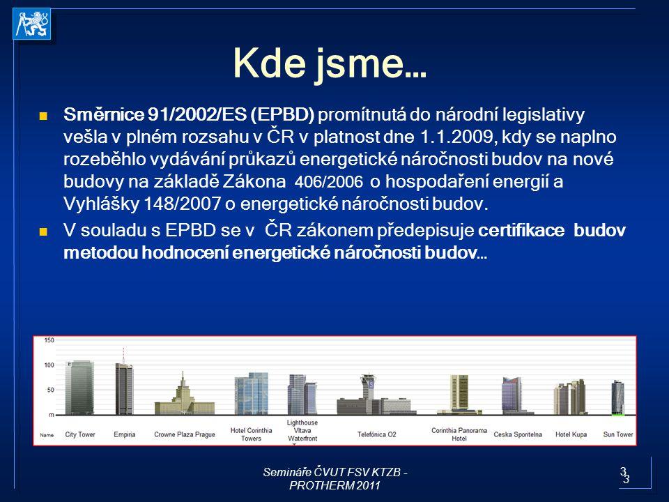 14 Směrnice 2002/91/EC -> 2010/31/EC o energetické náročnosti budov EPBD a)Společný obecný rámec metody výpočtu celkové ENB ; b)uplatnění minimálních požadavků na energetickou náročnost nových budov a nových ucelených částí budov; c)uplatnění minimálních požadavků na energetickou náročnost stávajících budov které jsou předmětem větší renovace; prvků budov a technických systémů budov d)vnitrostátní plány na zvýšení počtu budov s téměř nulovou spotřebou energie; 2020 všechny nové budovy, 2018 nové budovy veřejné moci e)energetickou certifikaci budov nebo ucelených částí budov; f)pravidelnou inspekci otopných soustav a klimatizačních systémů v budovách a g)nezávislé systémy kontroly certifikátů energetické náročnosti a inspekčních zpráv.