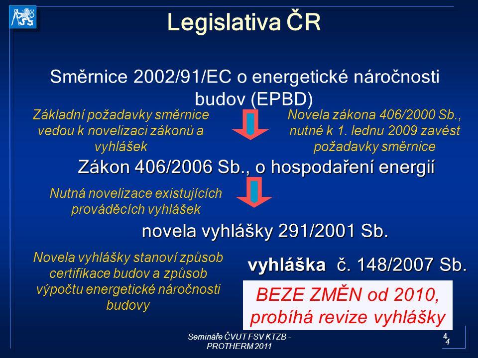 5 HODNOCENÍ ENERGETICKÉ NÁROČNOSTI BUDOV Semináře ČVUT FSV KTZB - PROTHERM 2011 5