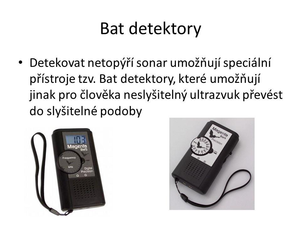 Bat detektory Detekovat netopýří sonar umožňují speciální přístroje tzv. Bat detektory, které umožňují jinak pro člověka neslyšitelný ultrazvuk převés