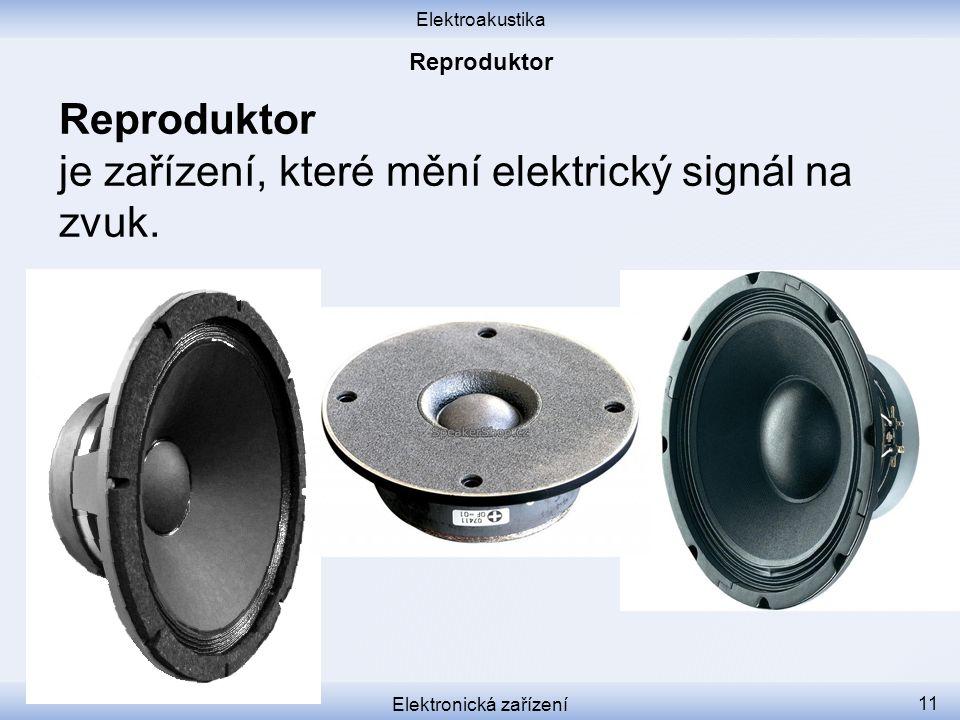 Elektroakustika Elektronická zařízení 11 Reproduktor je zařízení, které mění elektrický signál na zvuk.